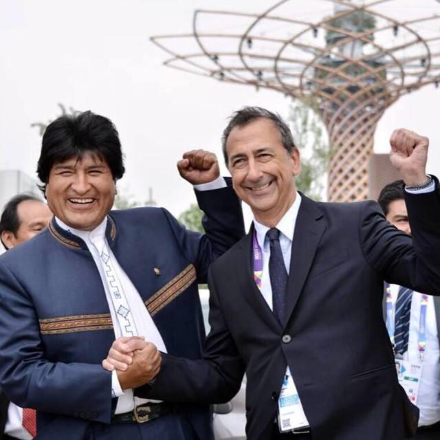 Giuseppe Sala con Evo Morales