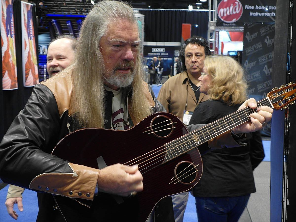 Bill Kaman at 2016 NAMM with the 1198-AV40 Ovation Adamas