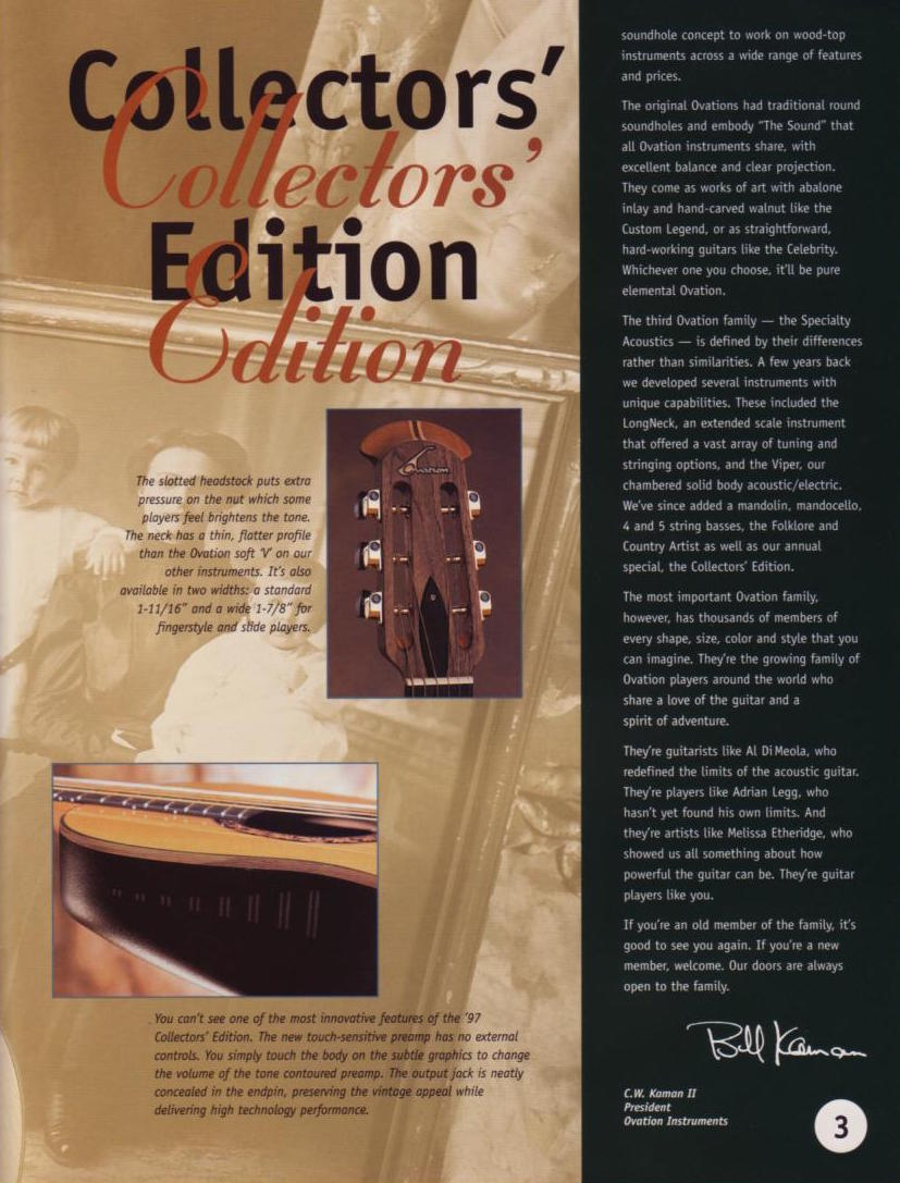 1997 Ovation Collectors brochure